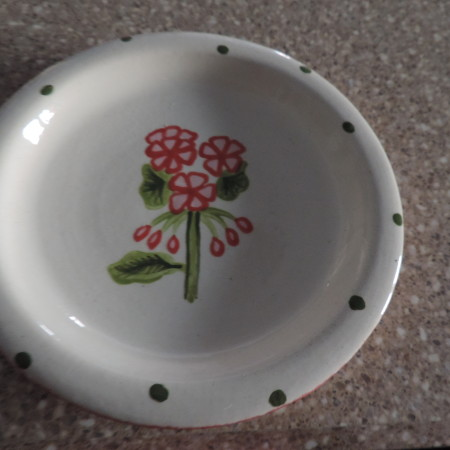 Candle Holder Ceramic, Cream With Pin& Red Flowers  > Diameter 6″