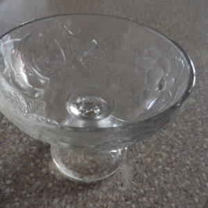 Compote Bowl 4″ Diam.  Clear Glass W/ Flowers
