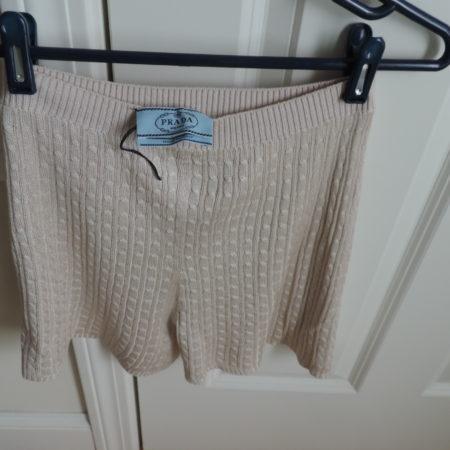 Prada 100% Silk Shorts Cable Design Beige > Europe Size 44 USA Size 10 NEW