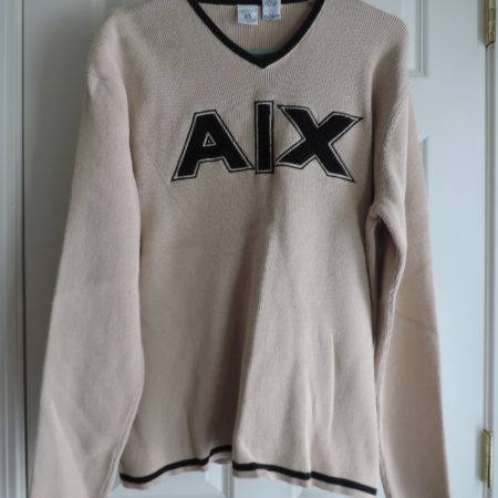 Armani Exchange Sweater Beige With Black A/X Letters On Front >size XL Vintage