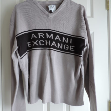Armani Exchange Sweater Gray With Armani Exchange Spelled On Front >size XL Vintage