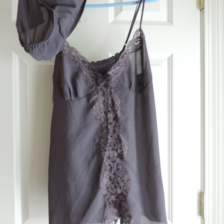 Victoria's Secret Gray Nightgown With A Bow In The Front & In The Back, Plus Applique Work & Matching Brief> Size L