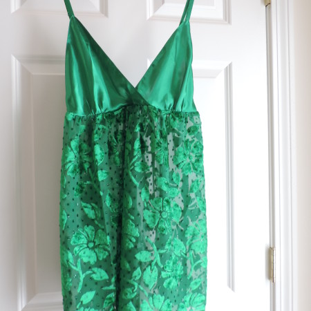 Victoria's Secret Green Burnout Floral Satin & Velvet Nightgown > Size M