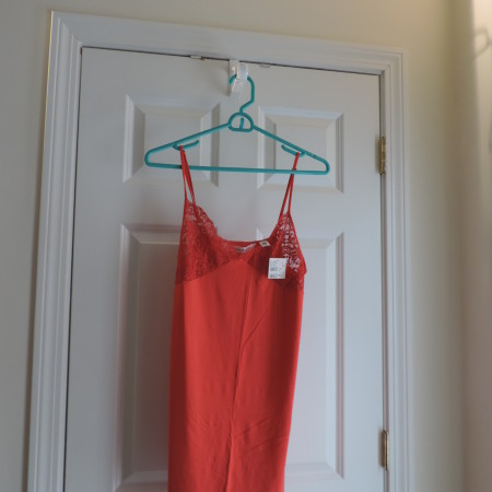 Victoria's Secret Orange Slip Nightgown W/lace Edges> Size L NEW