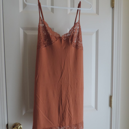 Victoria's Secret Brown Slip Nightgown W/lace Edges> Size L NEW