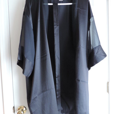 Victoria's Secret Satin Robe Black W/belt Satin/kimono Sleeves W/ Chiffon Inserts> Size One Size Fits All