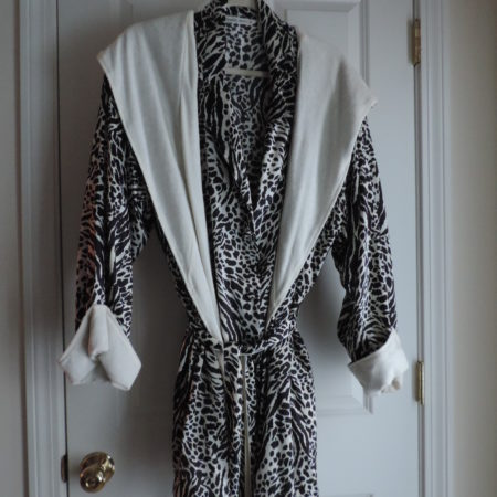 Victoria's Secret Robe Terry-lined W/belt & Hood, Satin Outside B&w Leopard Print, > Size M/L  Matching Satin Nightshirt >size L