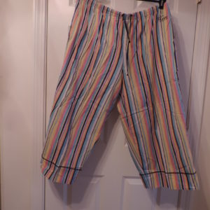 "Pajama Pants  Cropped Multi-color Striped W/ ""Hers"" Written On Pants  — Swell By Cynthia Rowley>size XXL"