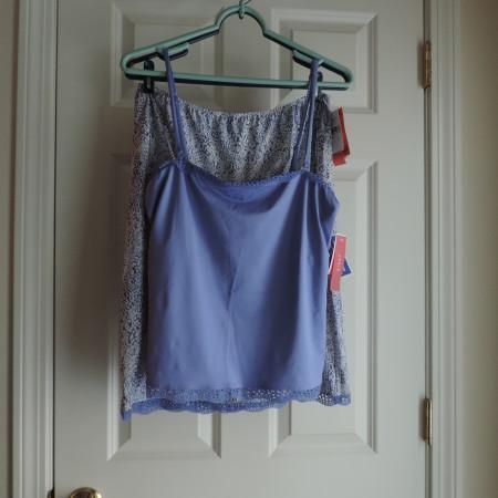 Josie Natori Periwinkle Camisole W/ Lace Trim Top & Bottom & Periwinkle/white Skirt W/lace Trim @ The Bottom > Size L NEW