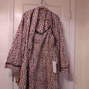 Nightgown Leopard Print & Matching Robe Both W/choc. Brown Velvet Trim  Both Short — Anne Lewin > Size 1X NEW