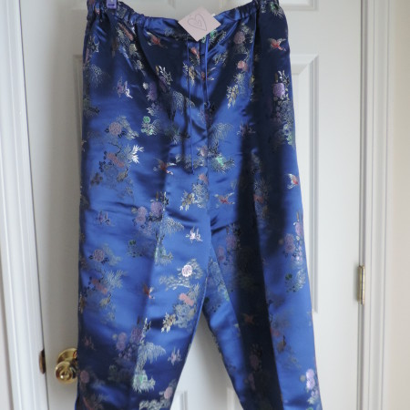Chinoiserie Blue Cranes & Floral Pants > Size 1X NEW
