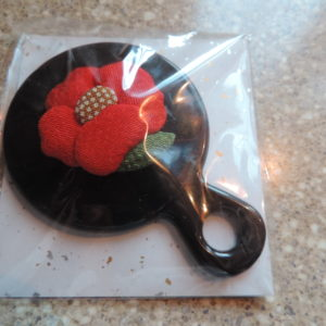 Mirror Little Hand Held – Made In Japan – Black With A Red Flower On The Back