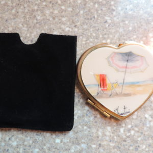 Make-up Mirror — Hand Painted From St. Martin W/ A Beach Scene — Heart Shaped Reg. & Magnifying NEW