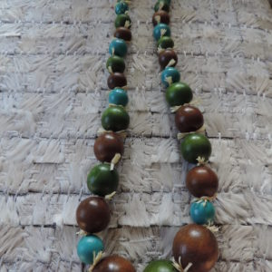 24″ Aqua/avocado/brown Wood All Round Bead Necklace With Rafia In-between