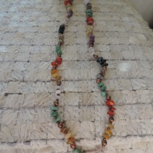 17.5″ Long Necklace Of Various Pieces Of Jade, Colored Quartz Etc., Separated By Brass Beads