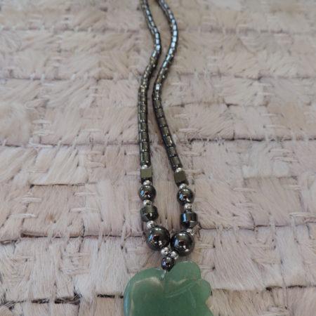 16″ Hematite Necklace W/jade Elephant Pendant