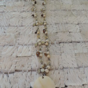 20″ Mother Of Pearl Necklace With Silver Tabs & Quartz Stones  Adjustable Chain
