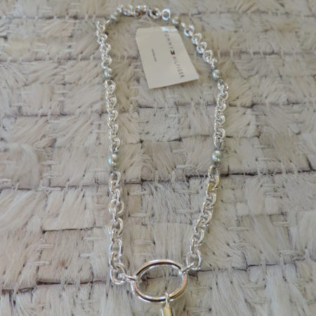 16″ Tommy Hilfiger Pearl Necklace Silvertone Link Chain NEW
