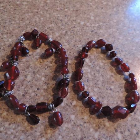 2 Raw Red Garnet Bracelets W/silver & Glass Beads (stretch)