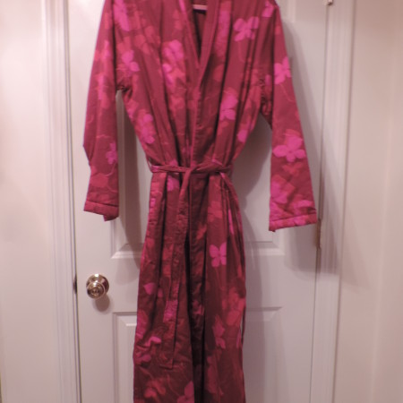 Long Red Cotton Slightly Quilted Robe W/ Flowers — GAP Body >size L