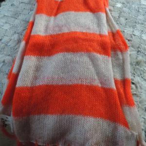 Scarf Orange/beige Stripe W/fringe