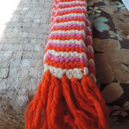 Scarf – Orange/pink/white Skinny Scarf NEW