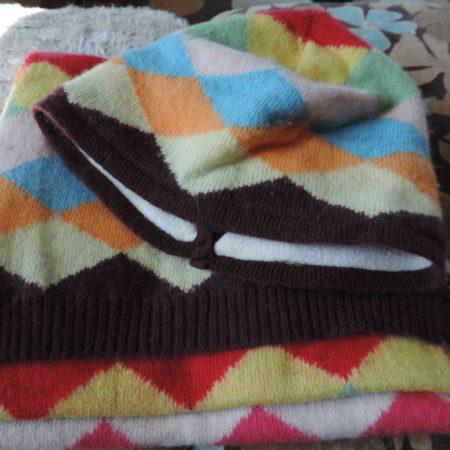 Hat & Scarf Set –multi -color Argyle Print