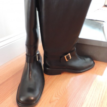Gucci Black Leather Riding Boots W/a Gold Buckle  Size 10 NEW