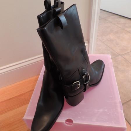 Miu Miu Black Leather Cowboy Boots Size 9 NEW