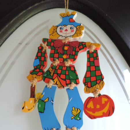Moving Scarecrow Wooden Door Hanger 10″  Arms & Legs Move
