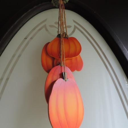 Multi Wooden Pumpkins W/wooden Leaves Door Hanger 14″