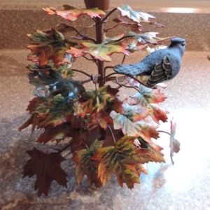 Metal Candle Stck Holder All Full Of Autumn Leaves W/a Bluebird On Top 7.5″
