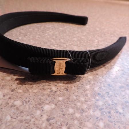 Ferragamo Black Wide Headband W/bow NWT