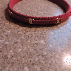 Ferragamo Fabric Red Skinny Headband With Logos