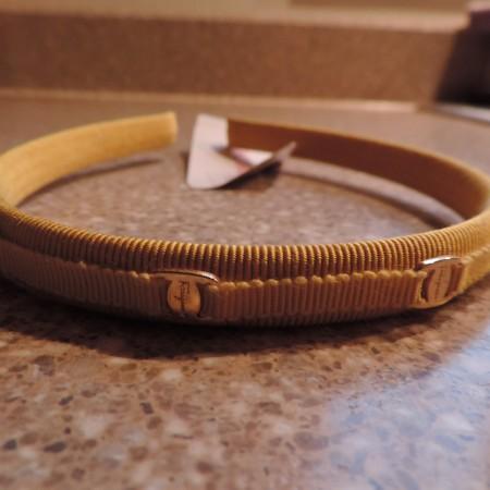 Ferragamo Fabric Gold Skinny Headband With Logos NWT