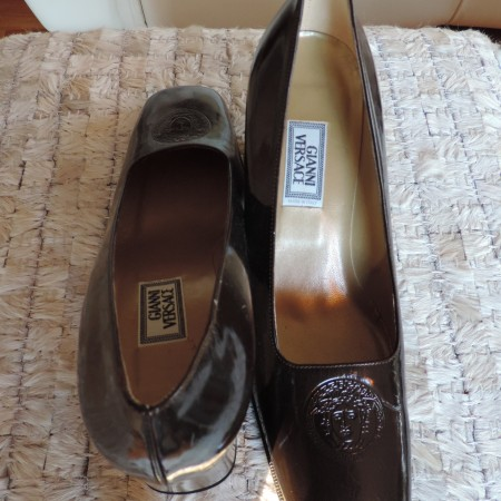 Gianni Versace Brown Patent Leather Shoes Size 9 1/2 NWT