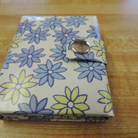 Photo Album Mini Blue & Green Flowers — Holds 3 Photos And Snaps Shut NEW
