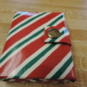 Photo Album Mini Christmas Stripe — Holds 3 Photos And Snaps Shut NEW
