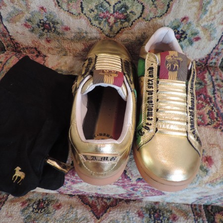 Gwen Stefani LAMB Gold Leather Slip On Size 9 NEW