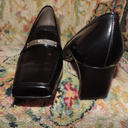 Gianni Versace Black Leather Shoes Size 9.5 NWT