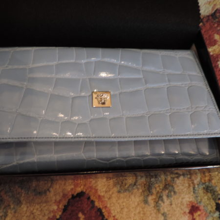 Gianni Versace Periwinkle Color Croc. Embossed Patent Leather Clutch/large Wallet NWB