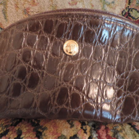 Gianni Versace  Croc. Embossed Brown Leather Small Purse NEW