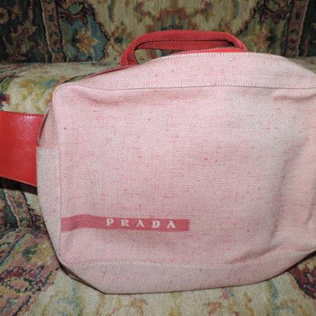 Prada Red Fabric & Leather Large Belt Bag And/or Handbag NWT