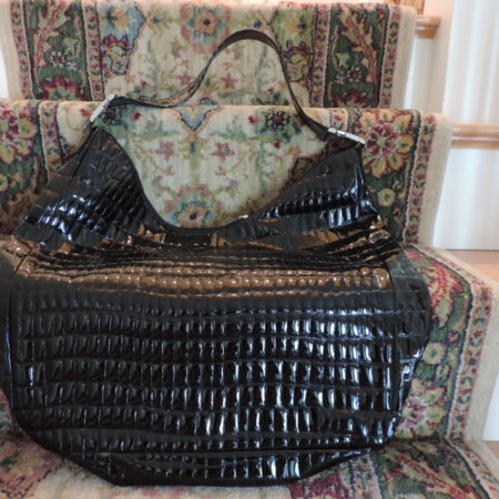 Moschino Croc. Embossed Black Patent Handbag