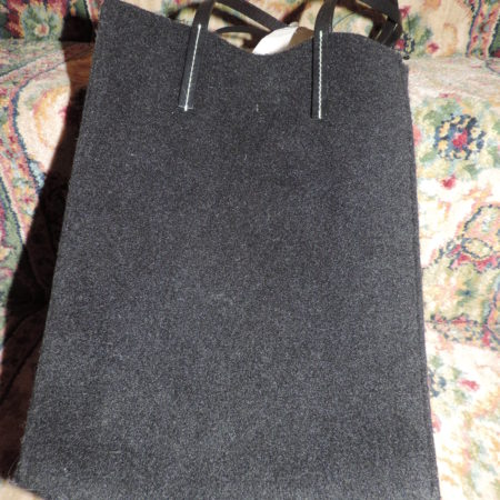 DKNY Black Wool Felt Handbag W/ 2 Leather Handles NEW