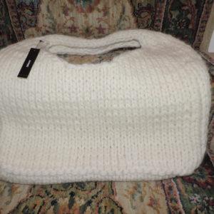 DKNY Pure Cream Wool Hand Knit Handbag NEW