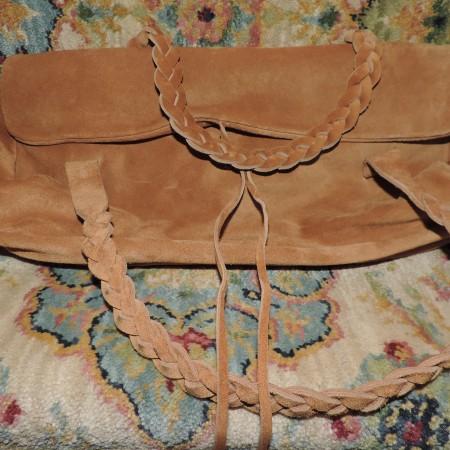 Miu Miu Beige Suede Handbag /braided Handles