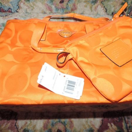 Coach Orange Small Bag W/mini Bag NWT