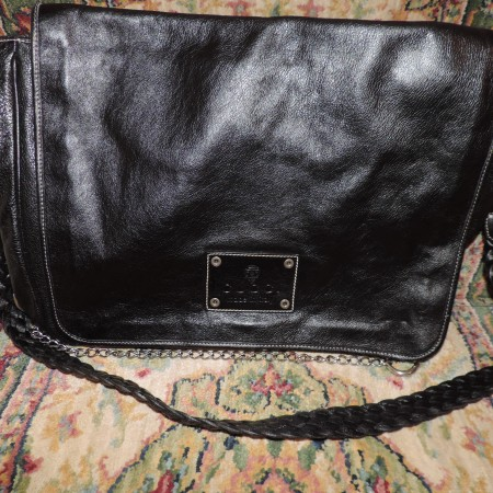 Gucci Black Leather Messenger Bag W/ Chain Detail Rare NEW