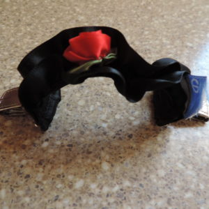 Sweater Gather – Black Satin W/a Red Rose Vintage